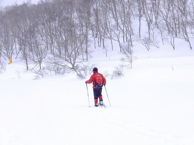 雪で埋まった一沼の上を 歩く