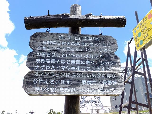 横手山説明板