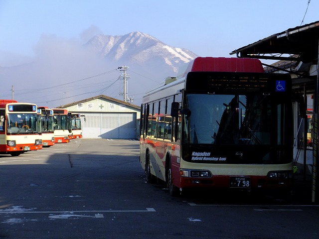 湯田中駅発のバス 2020.2.24