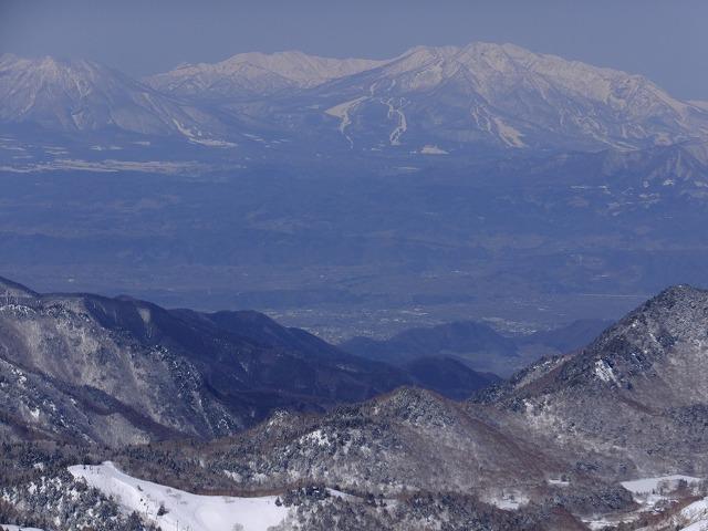 右から妙高山、焼山、黒姫山。横手山展望台から2020.2.24