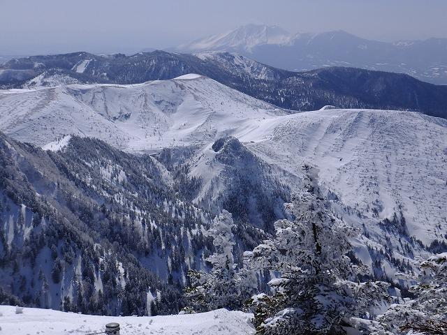 白根山のむこうに浅間山 横手山頂から 2020.2.24