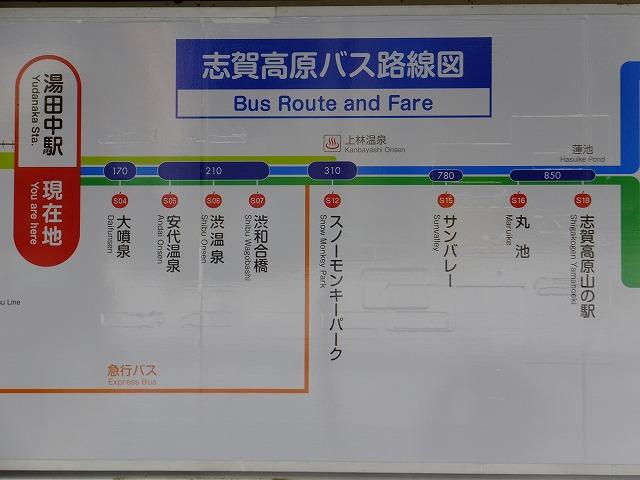 志賀高原バス路線図 湯田中駅―山の駅