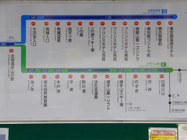 志賀高原バス路線図 山の駅より上