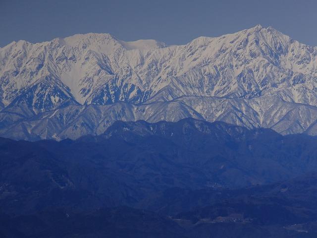爺が岳と鹿島槍ヶ岳(右) 2020.3.9 西館山より