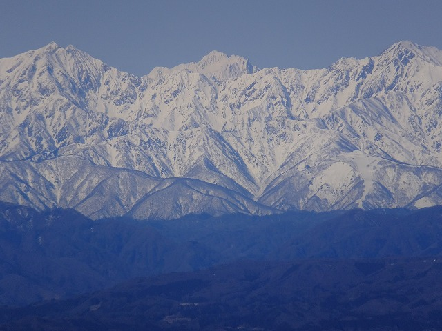 左から鹿島槍ヶ岳、剱岳、五竜岳 2020.3.9 西館山より
