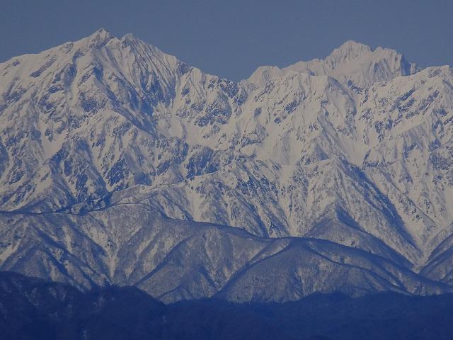 鹿島槍ヶ岳と剱岳(右) 2020.3.9 西館山より