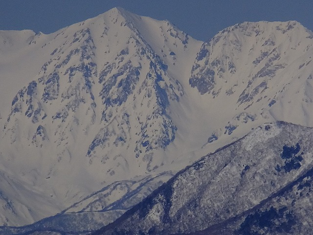 白馬鑓ヶ岳と杓子岳(右) 2020.3.9