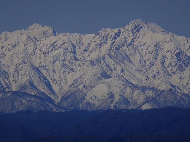 剱岳と五竜岳(右) 2020.3.9 西館山より