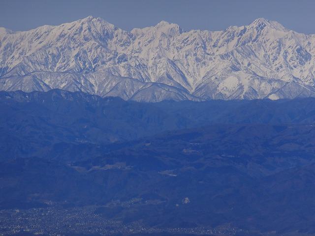 左から鹿島槍ヶ岳、剱岳、五竜岳 2020.3.9 東館山より