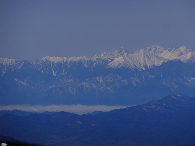 右から北穂高岳、涸沢岳、奥穂高岳、前穂高岳 2020.3.9 東館山より